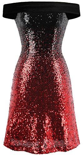 's Off Shoulder Gradient Sequined Short Cocktail Dresses Medium Red Black ()