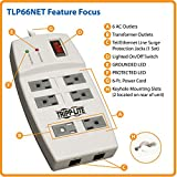 Tripp Lite 6 Outlet Surge Protector Power Strip, 6ft Cord, Ethernet, & $25K INSURANCE (TLP66NET)