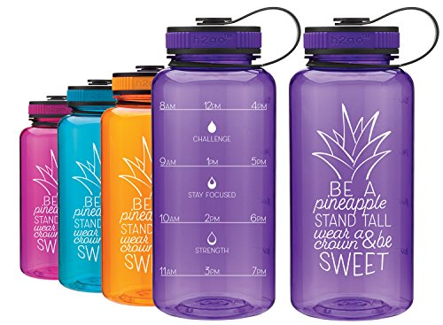 LivinLotus Pineapple - Wide Mouth 34oz Water Bottle - Inspirational Water Tracker for Hydration Tracking with Time Tracked by the hour for THREE refills and Motivational Quotes (Purple)