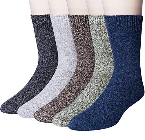 5 Pack Mens Winter Soft Warm Wool Knitting Cotton Casual Crew Socks