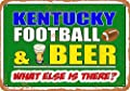 Wall-Color 10 x 14 Metal Sign - Kentucky Football and Beer - Vintage Look