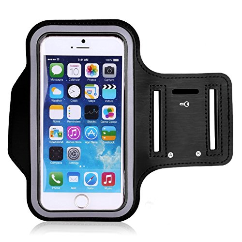 iPhone 6s Plus / iPhone 6 Plus Armband, KAMII Sports Pouch Running Pack Armband Gym Wrist Bag Touchscreen Sleeve Key Holder & Card Slot for Apple iPhone 5S 6 6S Plus Samsung Smartphone (Black) ()