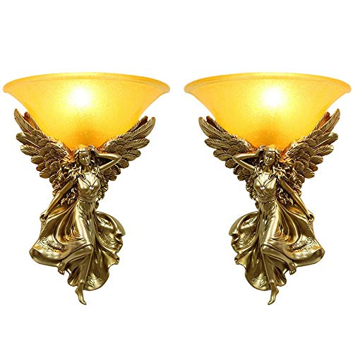 Angels Sconce - LAZ Nordic LED Wall Lamps, European Village Resin Gold/Silver/White Angel Decoration Hanging Lamp Wall Light Romantic Creative Hotel Dining Table Wall Sconce (Size : 2PACK)