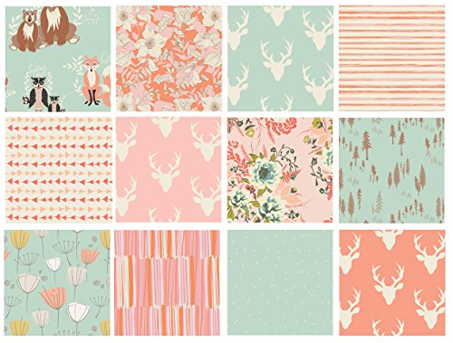 12 FABRIC BUNDLE - Hello Bear - Cultivate - Forest Floor - BUN12-01 - Art Gallery Fabrics - Deer Head Antlers Woodland Pink Mint Peach Girl Nursery (Fat quarters)