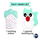 Teething Mitten + Teething Toy (Unicorn or Squirrel) Package, Teether Offering Soothing Relief for Babies, Infants and Toddlers. 100% Food Grade, BPA FREE Silicone. Great Green Shower Gift!