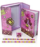 Children's Pink Trendy Girl Boxed Notebook & Stationery Gift Set Small Size