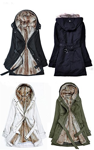 5-ALL Womens Plush Padded Abnehmbare Liner Knopf Hoodie Mantel Jacke