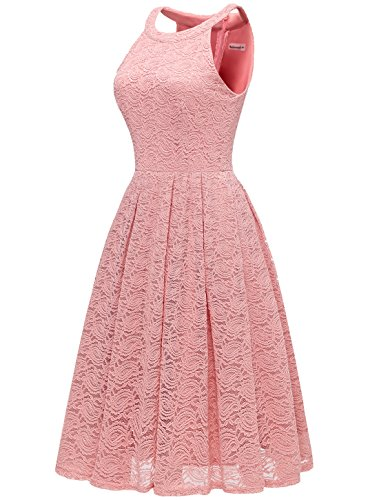 Women's Blush Party Dress Formal Sleeveless Rockabilly Lace Midi Cocktail Halter Neck Modecrush Floral FdqSw77H