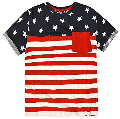 Boys Short Sleeved USA Stars And Stripes 100% Cotton T-Shirt Navy 7-8 Years