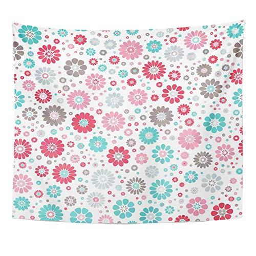 (Emvency Tapestry Wall Hanging Pink Dusty Blue Sky Gray Gradient Spot Flower on White Mid Century Mod Abstract Polyester Fabric Home Decor for Living Room Bedroom Dorm 50x60 Inches)