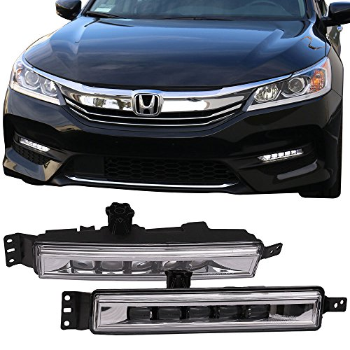 LED Fog Lights Fits 2016-2017 Honda Accord | Factory Style Black House Halo Projector Driving Spot Fog Bulbs Lamps Clear by IKON MOTORSPORTS Accord Factory Style Fog Lights