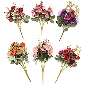Kimkoala 6Pcs Artificial Flower Faux Silk Rose Vintage  7 Branch 21 Heads Rose Bouquet Greenery Shrubs Plants Plastic Bushes Indoor Farmhouse Outside Garden Planter Decor 53