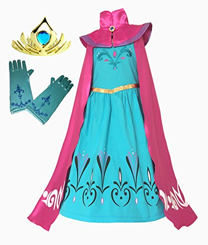 American vogue Elsa Coronation Dress Costume + Cape + Gloves + Tiara Crown (7 Years, Light Blue) (Frozen Gloves)