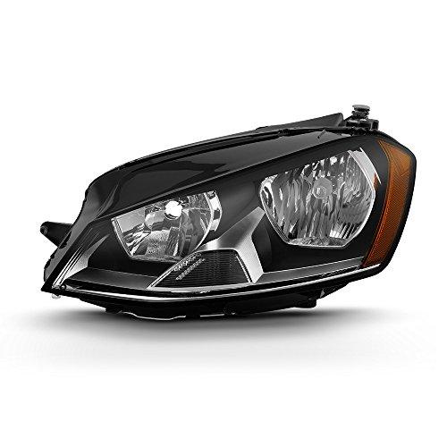 (VIPMOTOZ Black Housing OE-Style Headlight Headlamp Assembly For 2015-2017 Volkswagen VW MK7 Golf & GTI Halogen Model, Driver Side)