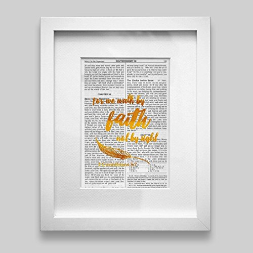Bible Verse Wall Art Christian Gift -For We Walk By Faith Not By Sight- Gold Foil Decor Inspirational Quote 5.25 inches x 7.75 inches - Sight Framed