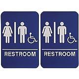Bundle – 2 items: Men and Women Unisex Handicap Wheelchair Braille ADA Restroom Sign Blue/White