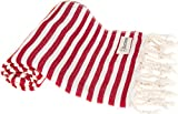 Bersuse 100% Cotton - Malibu Turkish Towel - Bath Beach Fouta Peshtemal - OEKO-TEX Certified - Ultra-Soft, Absorbent, Striped Pestemal - 37X70 Inches, Red