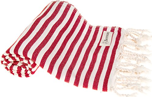 Bersuse 100% Cotton Malibu Turkish Towel, 37X70 Inches, Red (Red Striped Towel)