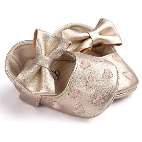 Zapatos de bebé, Switchali zapatos bebe niña bowknot verano Recién nacido Niña Cuna Suela blanda Antideslizante Zapatillas Bebé niña Princesa vestir casual Oro