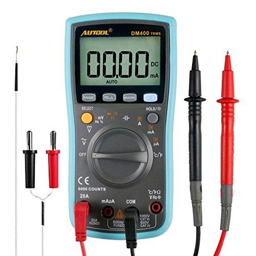 AUTOOL Auto/Manual Ranging Dual Model 6000 Counts 20A Digital Multimeter Voltmeter Ammeter Tester Resistance Ohm Volt Amp Temperature Meter CATIII(Manual+Auto Range ()