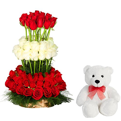 FloraIndia Surprise Your Valentine with 70 Red, 30 White Roses and a Cute Teddy (Bunch of 100)