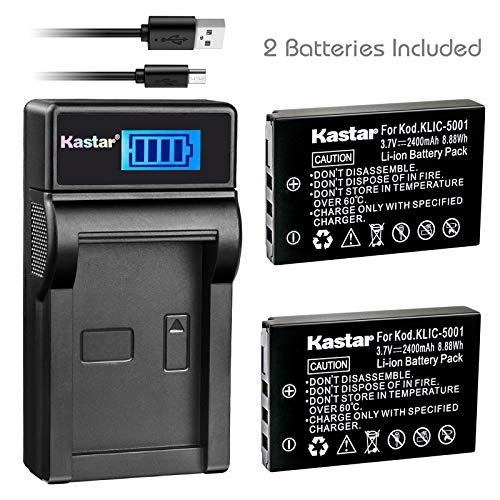 Kastar Battery (X2) & SLIM LCD Charger for Kodak KLIC-5001 and Easyshare P712 P850 P880 Z730 Z760 Z7590 DX6490 DX7440 DX7590 DX7630 Sanyo DB-L50 DMX-WH1 HD1010 FH11 HD2000 VPC-WH1 HD2000 HD1010 HD1000 (Charger Dx7440)