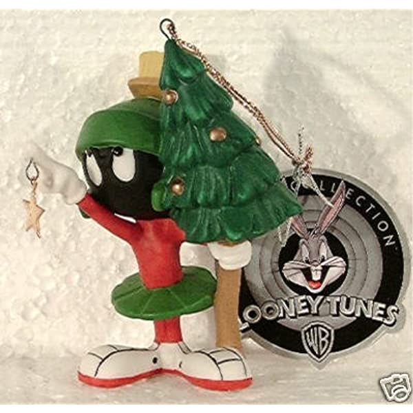 Pewter Silver MARVIN the MARTIAN Looney Tunes Figurine Christmas Tree Ornament A