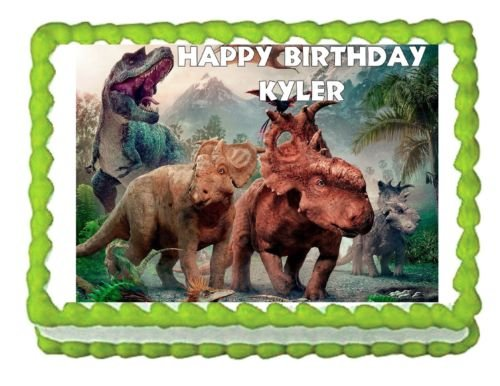 Walking with Dinosaurs edible cake topper decoration image frosting sheet ()