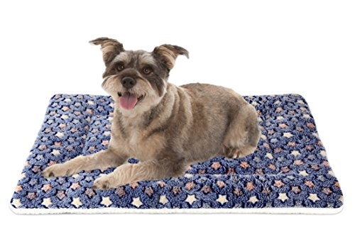 Mora Pets Ultra Soft Pet (Dog/Cat) Bed Mat with Cute Prints | Reversible Fleece Dog Crate Kennel Pad | Machine Washable Pet Bed Liner (24-Inch, Dark Blue)