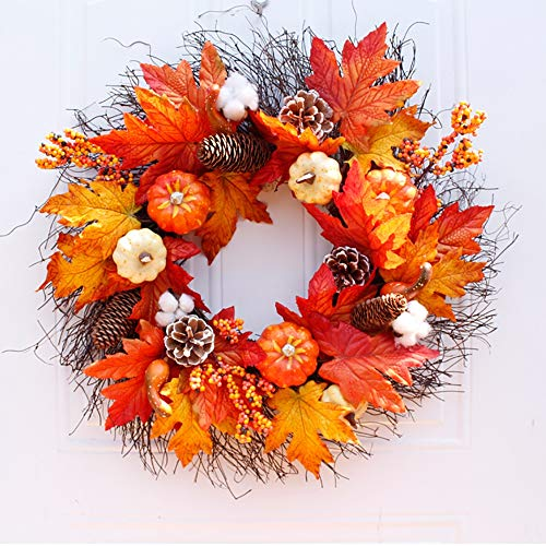 NQXXN Autumn Front Door Wreath, Artificial Pumpkin Maple Leaf Thanksgiving Halloween Wreath, for Home Festival Decor(21 Inch)