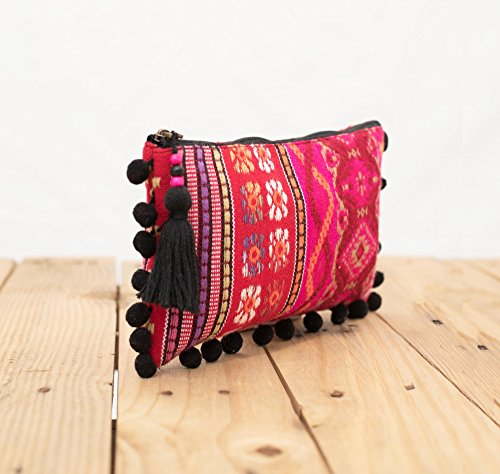 Rosa in tessuto dobby Pouch, acrilico, zip clutch, make up o per cosmetici, borsello, boho borsetta