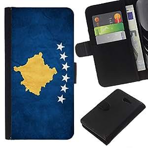 EJOY---La carpeta del tirón la caja de cuero de alta calidad de la PU Caso protector / Sony Xperia M2 / --Nacional bandera de la nación País Kosovo