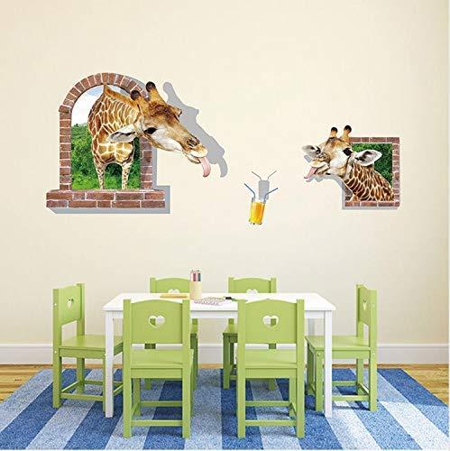 Leguliya Funny 3D Giraffe Couple Fake Window Wall Stickers for Nursery Bedroom Kids Room Wall Decals Art Home Decor ()