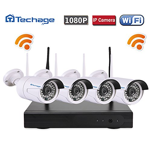 Techage 4CH Wireless NVR Kit Plug and Play 1080P HD Outdoor Night Vision 2.0mp Security Camera IP WIFI Surveillance CCTV (B/w Video Doorbell)