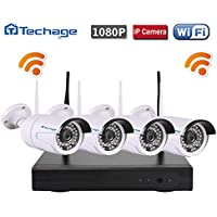 Techage 4CH Wireless NVR Kit Plug and Play 1080P HD Outdoor Night Vision 2.0mp Security Camera IP WIFI Surveillance CCTV System