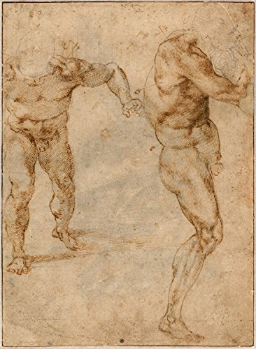 Giclee Canvas Prints (32 x 44 inch): Two Nude Studies Of A Man Storming Forward And Another Turning To The Right (verso), C. 1504 - Michelangelo Buonarroti (gc-201500172-3244)