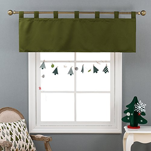 Blackout Valance Curtain for Boy's Room - 52-inch by 18-inch Solid Tab Top Valance for Window by NICETOWN (Olive Green, 1 Panel) (Green Window Valance Treatment)