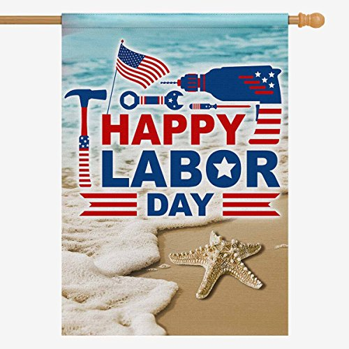 InterestPrint Happy Labor Day American Flag Polyester Garden Flag Outdoor Banner 28 x 40 inch, Summer Beach Wave Starfish Decorative Large House Flags for Wedding Party Yard Home Decor Review