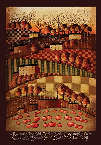 Toland Home Garden Think Fall 28 x 40 Inch Decorative Rustic Autumn Americana Harvest Pumpkin House Flag -