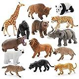 14 Jumbo Safari Animal Toy Set - Different Varieties of Zoo Animals, African Animals, Jungle Animals, Elephant, Giraffe, Lion, Tiger, Gorilla, and More, with Fabric Storage Bag