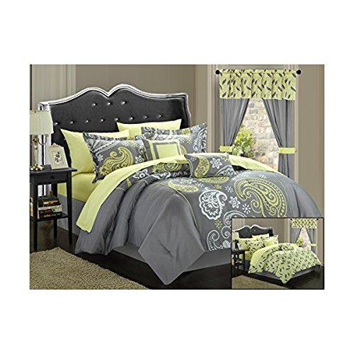 Chic Home 20-Piece Olivia Paisley Print Reversible Comforter Set, King, Grey/Yellow
