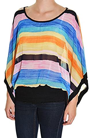 Feline Striped Sheer Chiffon Layering Shirt (Blue Orange, Small) - Smocked Waist Silk Blouse