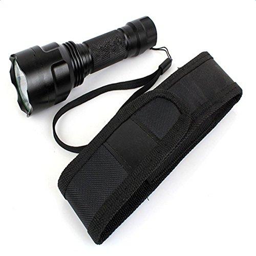 Negro Kanggest Pr/áctico Funda de Linterna con Tapa y Clip para Cintura Cintur/ón de Nylon