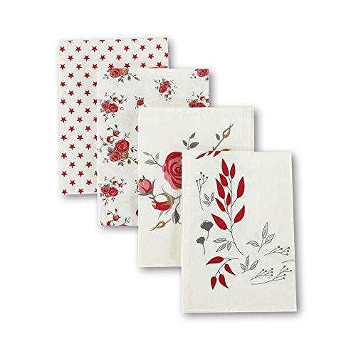 Family Love Printed 100% Cotton Flour Sack Tea Towel 4PC Set Coffee Towel 19.75