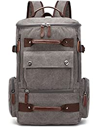 Canvas Backpack, Aidonger Vintage Canvas School Backpack Hiking Travel Rucksack Fits 15'' Laptop (Gray38)