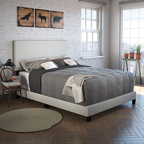 Boyd Sleep Montana Upholstered Platform Bed Frame with Headboard: Linen, Cream, Queen (Linen Bedframe)