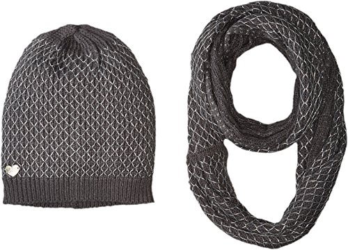 Betsey Johnson Women's Net Worth Two-Piece Set Infinity Beanie Grey One Size - Betsey Johnson 2 Piece