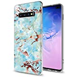 GORGCASE Galaxy S10e 2019 CASE,Slim Anti-Scratch Armor Shock-Proof Cute Sparkle Bling Hard PC Back TPU Bumper Girls Women Protective Cover for Samsung Galaxy S10e 5.8 INCH Marble Light Blue