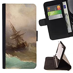 Momo Phone Case / Flip Funda de Cuero Case Cover - Tormenta Pintura Vela Waves Arte - Samsung Galaxy A5 ( A5000 ) 2014 Version