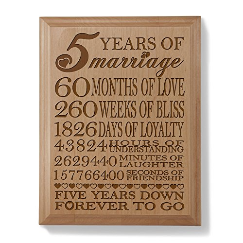 5th Anniversary Gifts For Her: 5th Anniversary Engraved Natural Wood Plaque